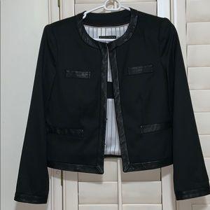 Alice + Olivia S black leather trimmed blazer